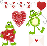 Frog Love Clip Art Set Digital Elements