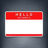 Red name tag blank sticker HELLO