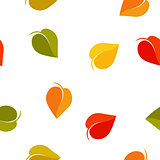 Isolated abstract colorful leaves background. Autumn foliage backdrop. Seamless fall texture. Natural environment wallpaper. Vector  illustration.