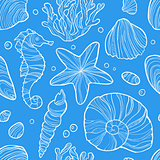 Seamless pattern with sea life.