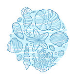 Hand drawn monochrome sketch of little scallop shell isolated on white background.