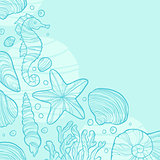 Background with seashells, rocks, seahorse, waves and place for text.