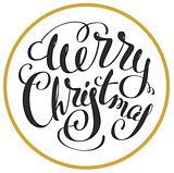 Merry Christmas. Lettering text for greeting card shape sphere