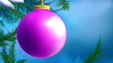 Lilac Christmas Ball over Blue Background