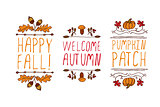 Hand drawn autumn elements with inscription