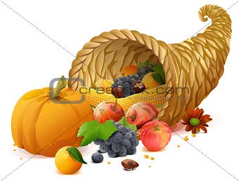 Cornucopia rich harvest on day of Thanksgiving