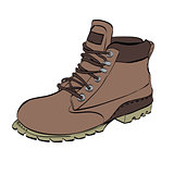 Boots for men Hiking on a white isolated background