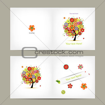 Greeting card design with fruit tree