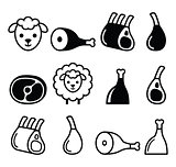 Lamb meat, leg of lamb, lamb shanks and ribs icons set