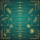 Set of Vector Golden Decorative Hand Drawn Design Elements