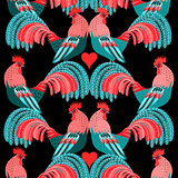 Bright pattern of decorative roosters