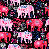 Bright pattern of beautiful elephants