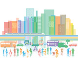 Large city with people and road traffic