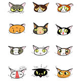 Great designed set of cute cartoon cats