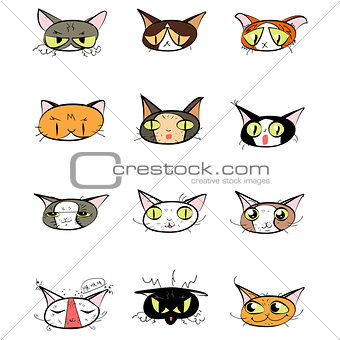 Great designed set of cute cartoon cats
