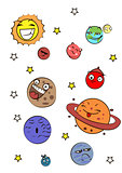 Great designed set of cartoon planets