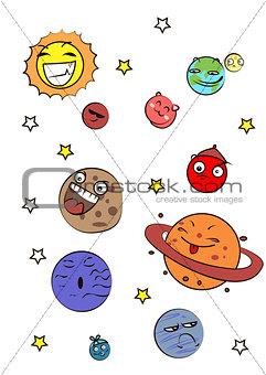 Great designed set of cartoon planets