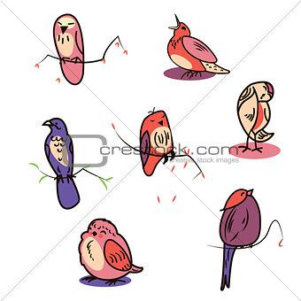 Great designed set of cartoon birds