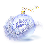 Realistic transparent blue Christmas ball with snowflakes
