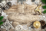 Christmas holiday background with pinecone balls greeting