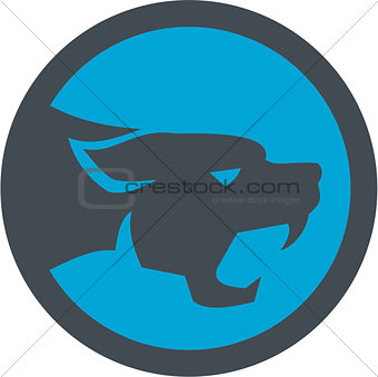 Black Panther Head Growling Circle Retro