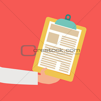 Business man hand holding paper document