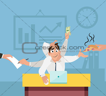 Office worker with six hands with and multi tasking