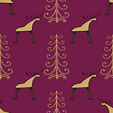 Moose wood ethnic ornament seamless pattern.