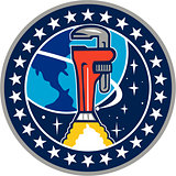 Pipe Wrench Rocket Booster Orbit Earth Circle Retro