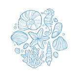 Hand drawn monochrome sketch of shell, seahorse, starfish, coral and others sea life in circle.