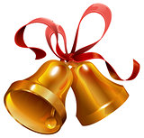 Two gold Christmas jingle bell with red ribbon
