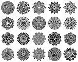 Black geometric round abstract mandala collection