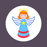 Colorful christmas simple vector angel icon