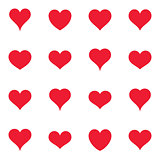 Various simple red vector heart icons