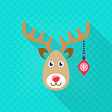 Vector reindeer face christmas flat icon