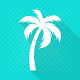 White vector palm tree flat icon
