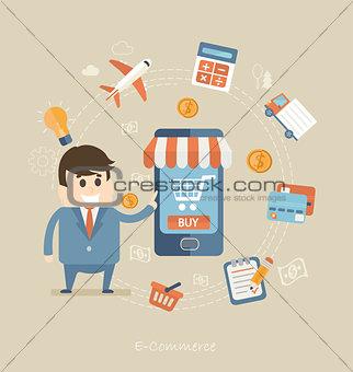 Flat design concept of e-commerce.