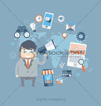 Flat design of business for digital marketing.