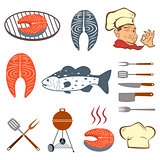 Fish set of steak and tools