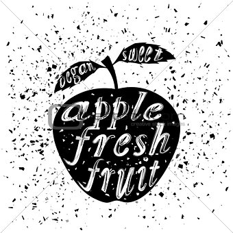 Apple Icon Typography Design with Lettering