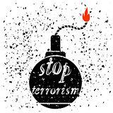 Bomb Icon. Stop Terrorism Banner.