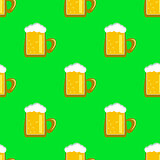 Beer Mug Seamless Pattern.