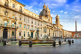 Pamphili palace and fountain