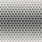 Triangular Shapes Halftone Lattice. Vector Seamless Black and White Pattern.