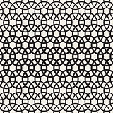 Circle Overlapping Shapes Lattice. Vector Seamless Black and White Pattern.