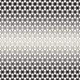 Triangular Star Shapes Halftone Lattice. Vector Seamless Black and White Pattern.