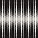 Hexagon Star Shapes Blend Halftone Lattice. Vector Seamless Black and White Pattern.