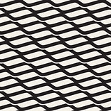 Vector Seamless Black and White Wavy Shapes Pattern