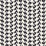 Hand Drawn Vertical ZigZag Lines. Vector Seamless Black and White Pattern.