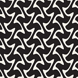 Hand Drawn Vertical Wavy Lines. Vector Seamless Black and White Pattern.